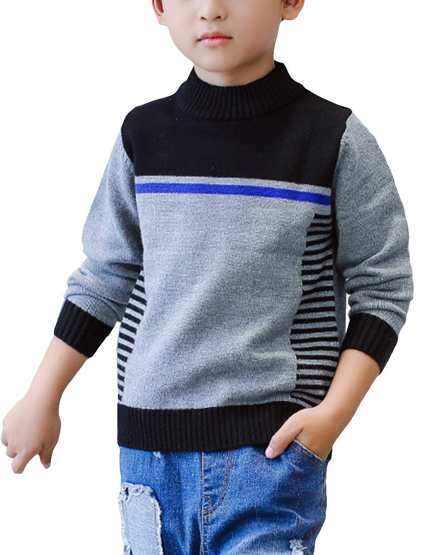 MFrannie Boys Korean Style Symmetric Stripe Rib Knit Casual Sweater