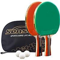 Senston Palas Ping Pong, Pelotas Ping Pong Set, 2 Raquetas de Tenis de Mesa + 3 Pelotas + 1 Bolsa,el Entrenamiento/Kit…