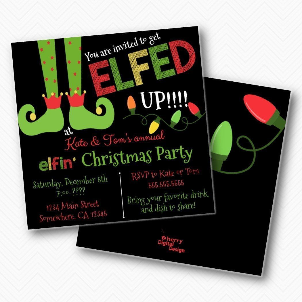 Amazon Lets Get Elfed Up Christmas Party Invitation Funny Invite 525 X Square Double Sided Invitations With Envelopes