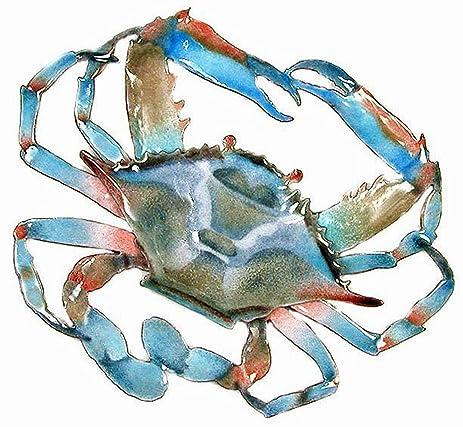 Amazon.com: Wall Art - Blue Crab Metal Wall Sculpture - Nautical ...