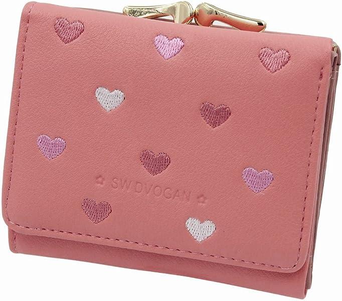 5cd3e2b7c728 レディースミニ財布 人気 小さい財布 がま口付き 二つ折り財布 カワイイ レザー コンパクト ハート ウォレット