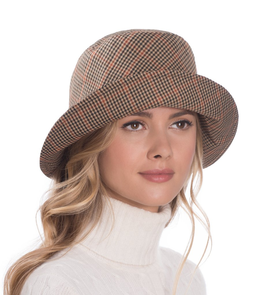 Eric Javits Luxury Fashion Designer Women's Headwear Hat - Rain Bucket - Tan Check by Eric Javits