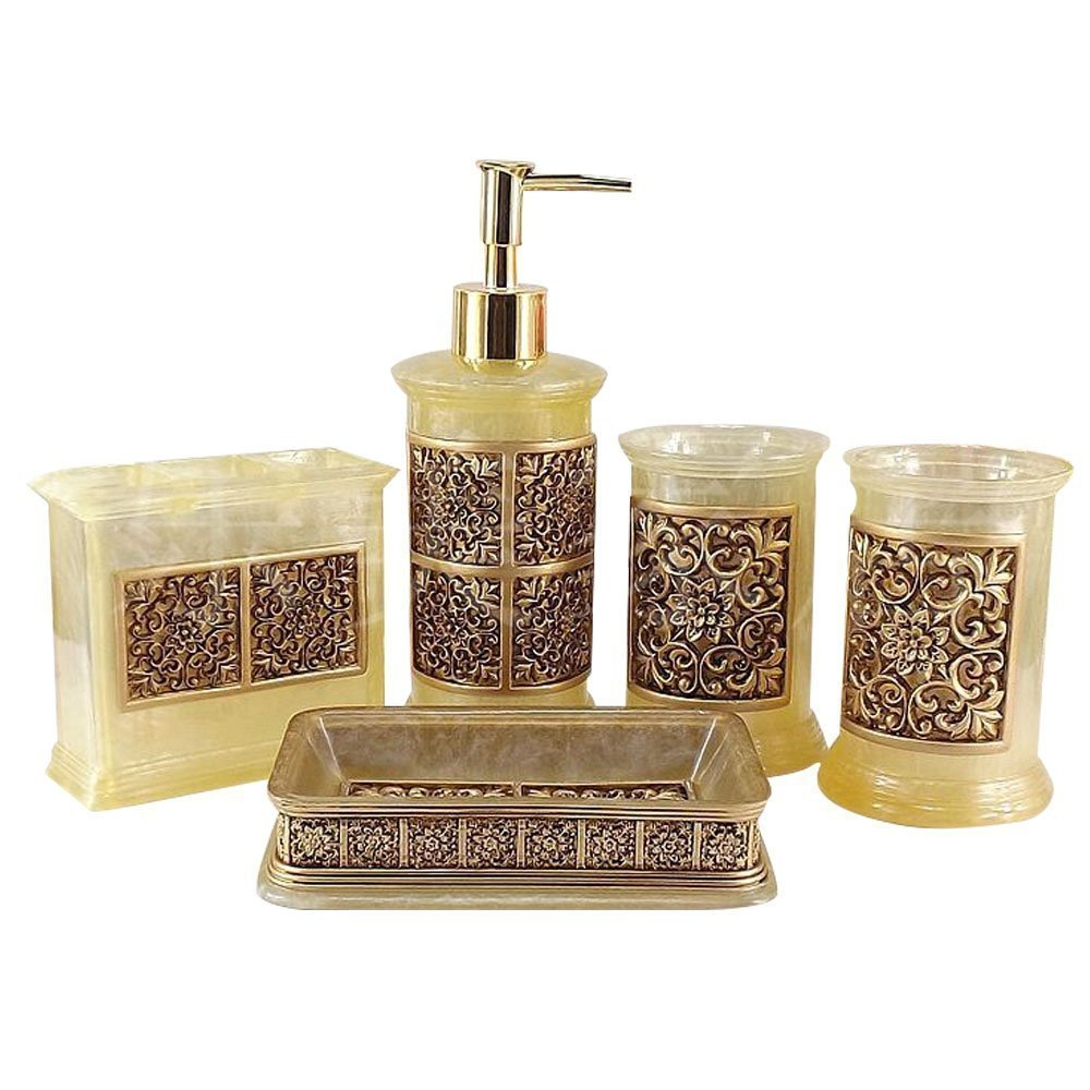 5PCS Vintage Classic Luxury Bathroom Bath 3D Decor Accessories Collection Set for Hotel & Home with Soap dispenser, Toothbrush Holder, Toothbrush Cup, Soap Dish (golden)