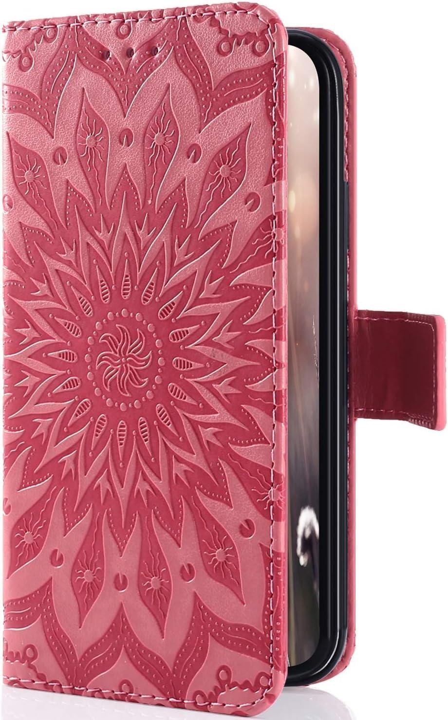 Uposao Funda Compatible con Sony Xperia XZ4 Compact Billetera PU, Slim Flip Case Libro Funda de Cuero Leather Retro Elegante Mandala Carcasa Soporte Plegable Cierre Magnético Tapa Folio de PU Funda