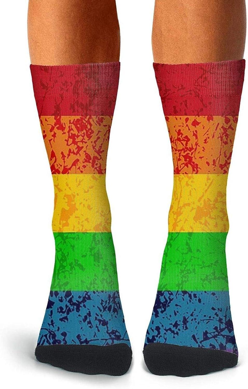 Mens Boot Socks Gay Pride Rainbow Flag LGBT Stocking Funky High Ankle Socks