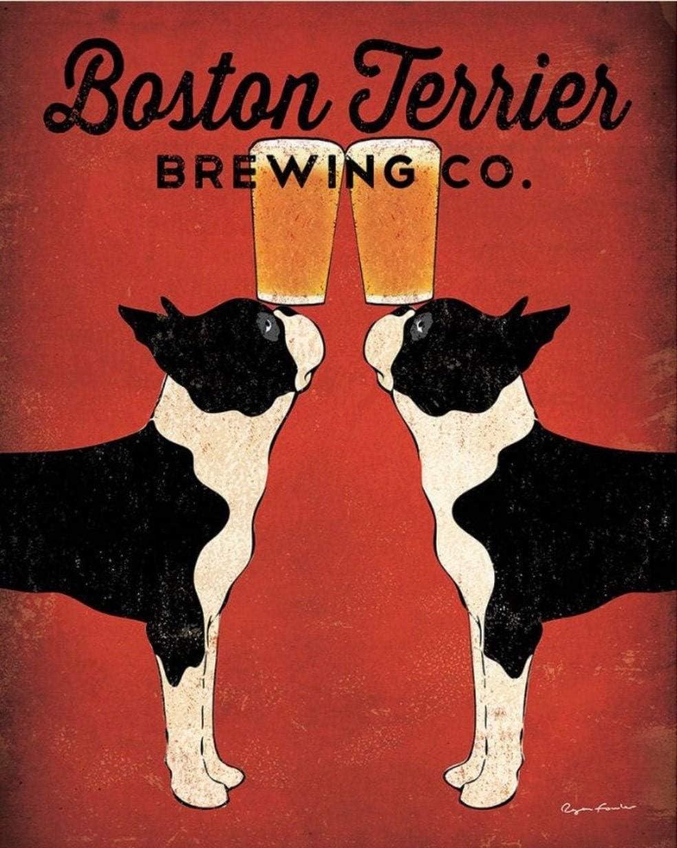 Metal SignAluminum Sign Vintage Boston Brewing Company Ad Print, Boston Terrier Print, Dog Print, Iron Painting Yard Sign 8x12 Inches