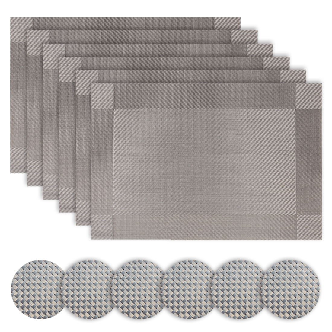 Silver Place Mats Table Mat Set Drinks Coasters Plate Mats