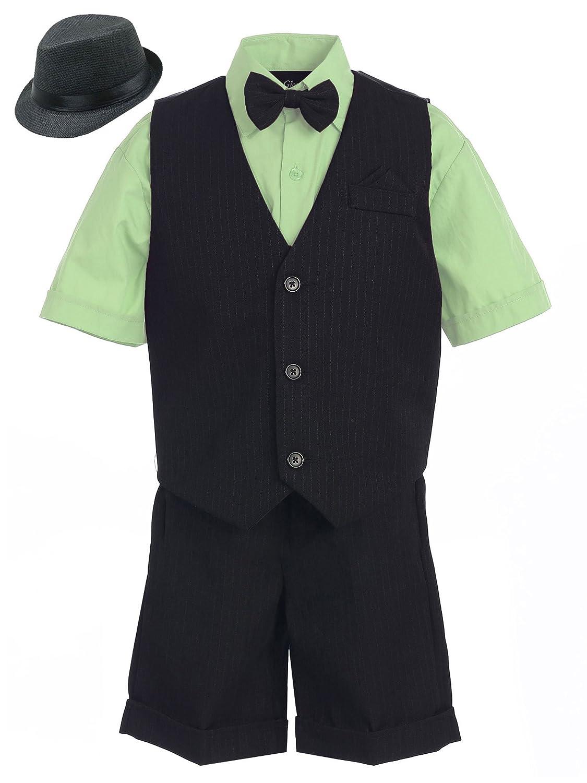 Bello Giovane Boys 4-piece Short Tuxedo Suit (Free Black Fedora / Size 2 to 7)