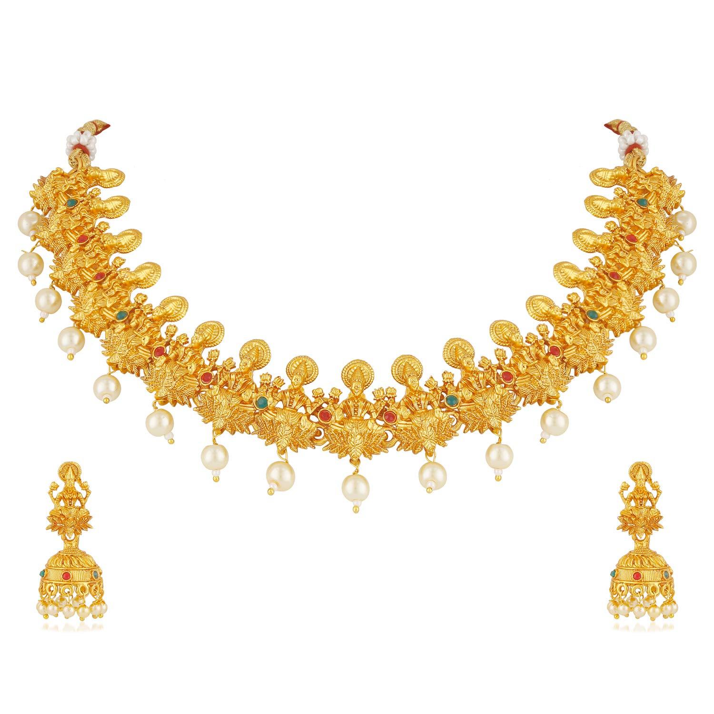MEENAZ Laxmi Temple Jewellery Sets for Women Matte Gold Kundans Bridal  Necklace Jewelry Set Jhumki Earrings for Girls/Women - NL-315