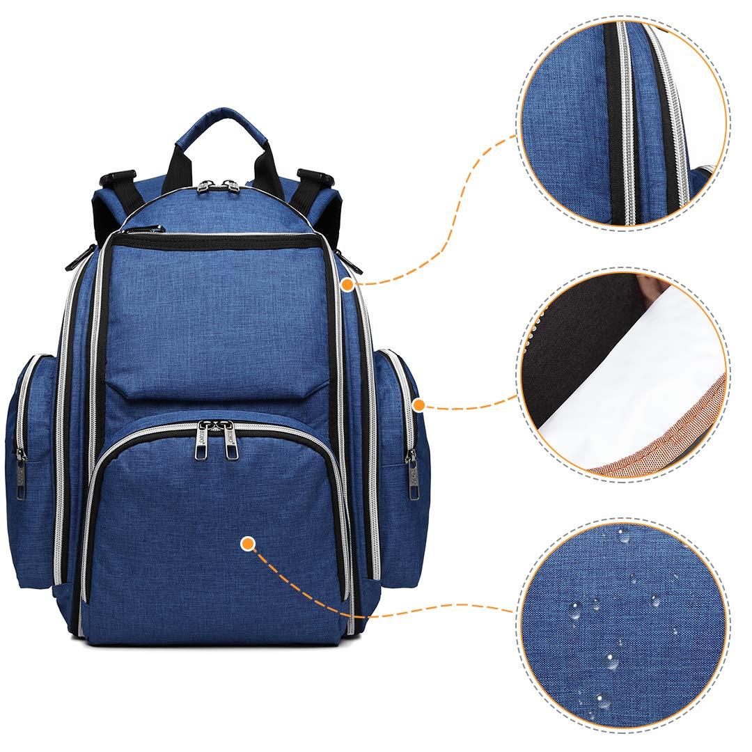 Blau Kono Baby Wickelrucksack Wickeltasche mit Wickelunterlage Multifunktional Gro/ße Kapazit/ät Babyrucksack Kein Formaldehyd Reiserucksack