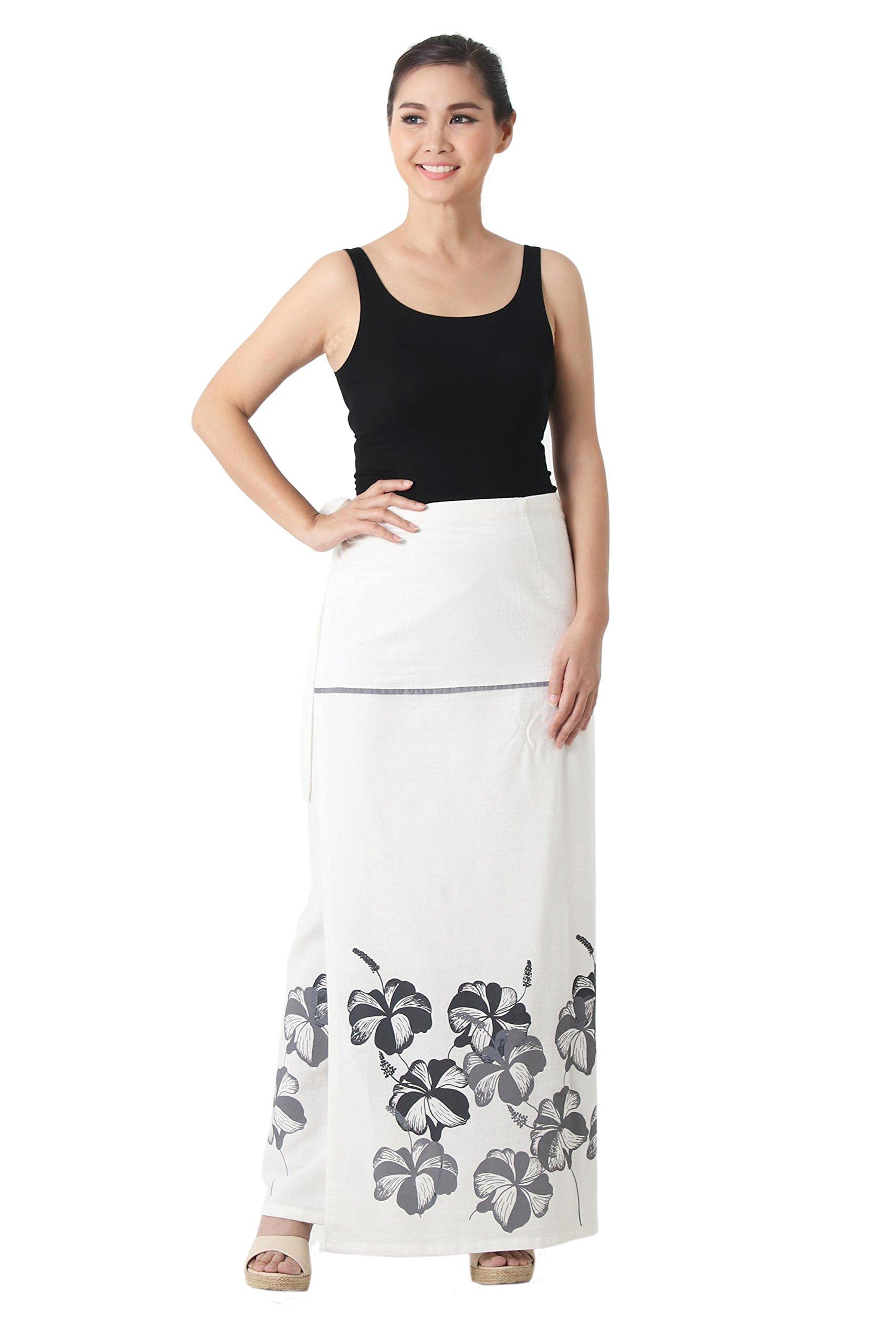NOVICA Grey and White Cotton Wrap Skirt, 'Hibiscus on White'