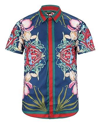 a1f0a2e684c PIZOFF Men s Casual Short Sleeve Dress Shirt Arc Bottom Luxury 3D Luxury  Flowers Print Button Down
