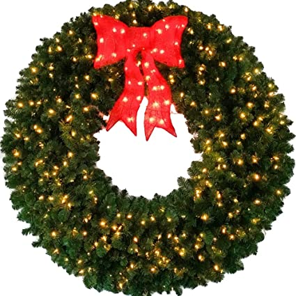Amazon.com: 5 Foot Pre-lit Christmas Wreath with Large Red Bow - 60 ...