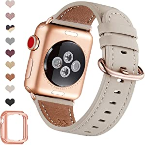OMIU Leather Bands Compatible for iWatch 38mm 40mm 42mm 44mm, Genuine Leather Replacement Band Compatible with Apple Watch Series 6/5/4/3/2/1,iWatch SE (Ivory White/Rose Gold Connector, 38mm 40mm)