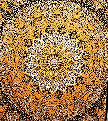 WORLD WIDE KART Indian Elephant Star Mandala Tapestry Organic Cotton Hippie Wall Hanging Yoga Mat Bohemian Tapestries Coverlet Picnic Beach Bedspread Home Decor Throw Art Multi Double Size 85x55 Inch