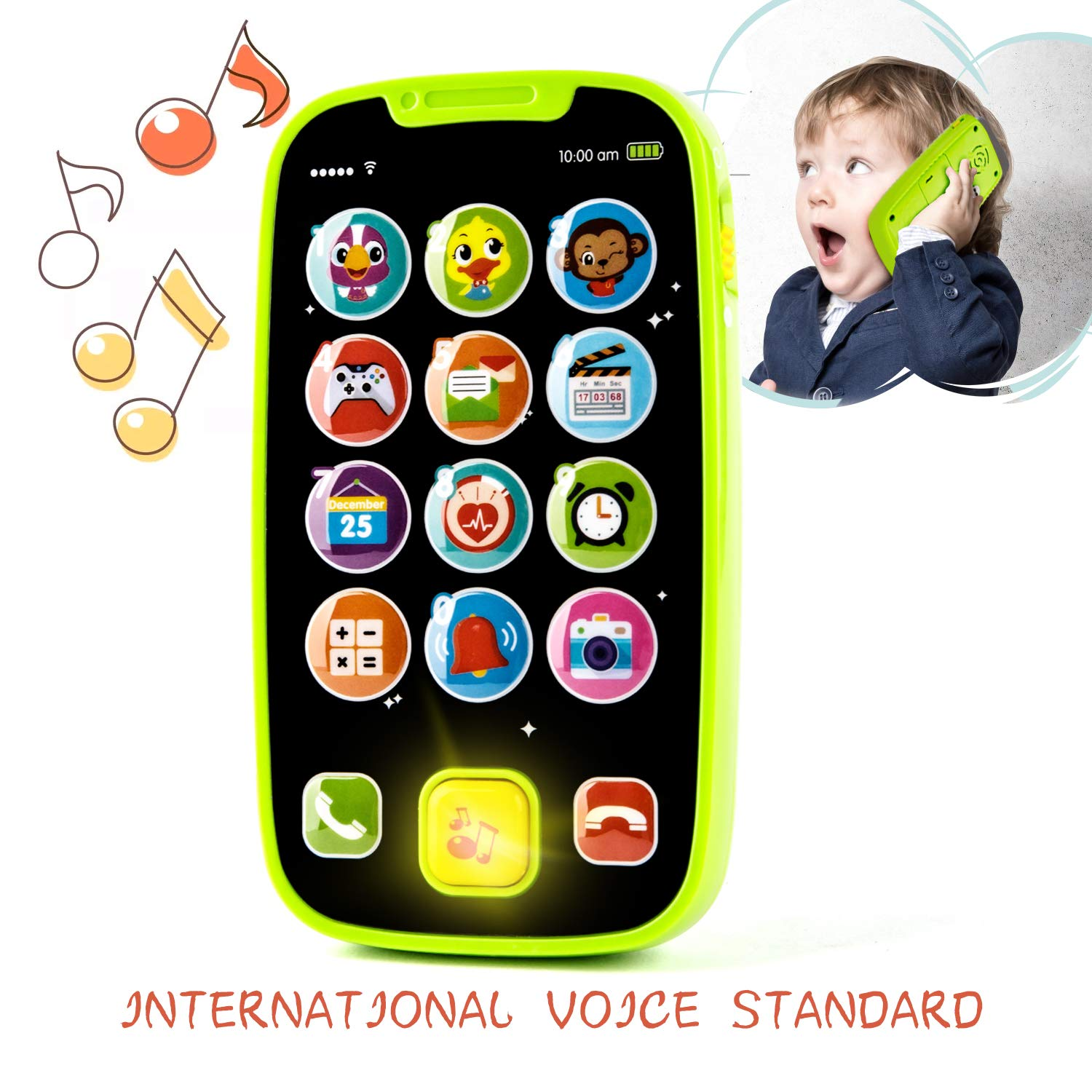 KidPal Baby Toy Phone for 1 2 Year Old with Light, Music| My First Smartphone Toy for Baby 8M 12M 16M 24M+ Toddler Cell Phone | Educational Call & Chat Learning Play Phone Toy for Role-Play Fun by KidPal