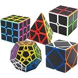 Puzzle Cubes Megaminx + Pyraminx + 2x2x2 + 3x3x3 + Skewb 5 Pack in Giftbox Coolzon® Cubo Magico con Pegatina de Fibra de Carbono Velocidad