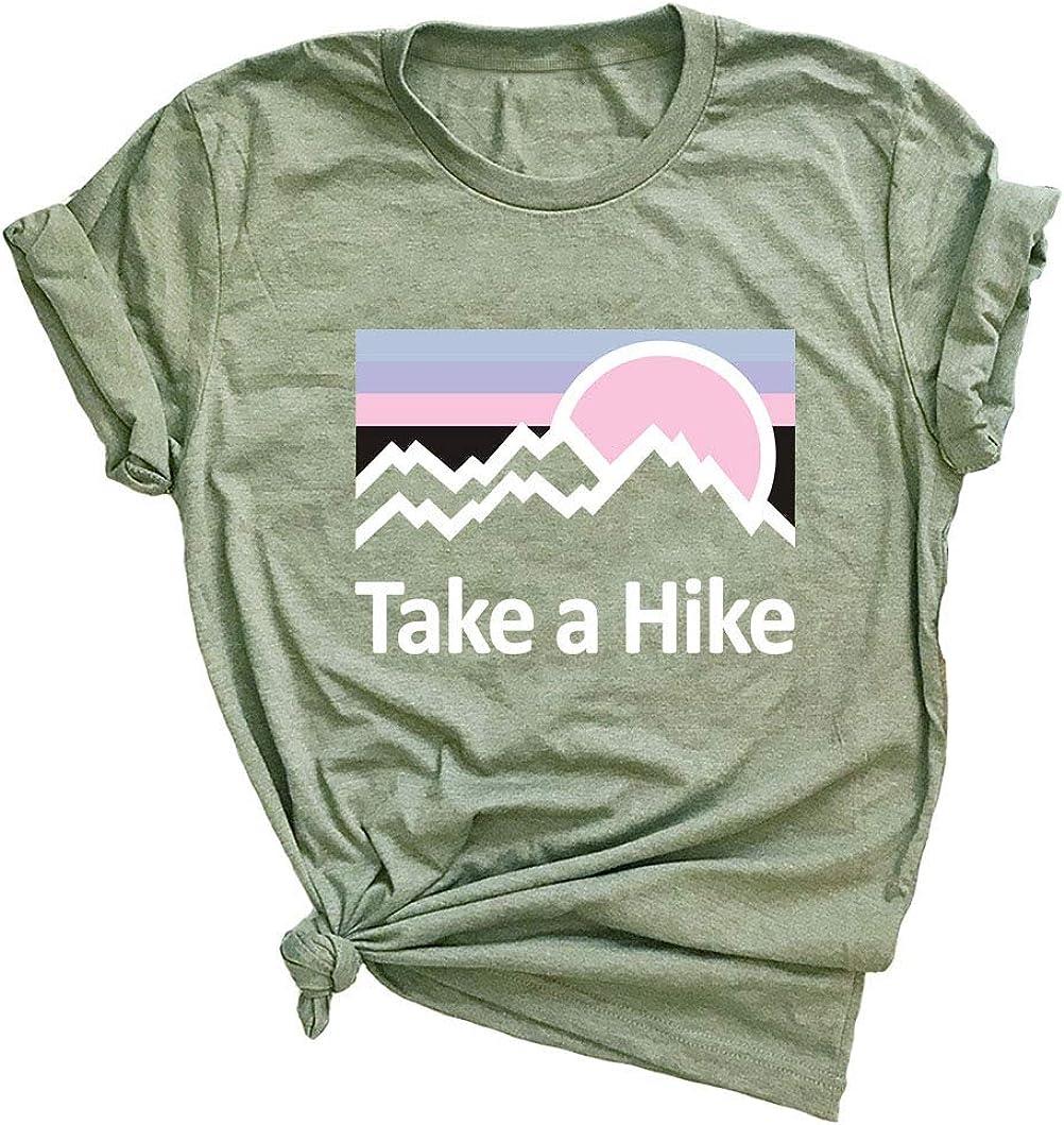 Women Take A Hike Letter T-Shirt Women's Cute Graphic Casual Short Sleeve Tee Top