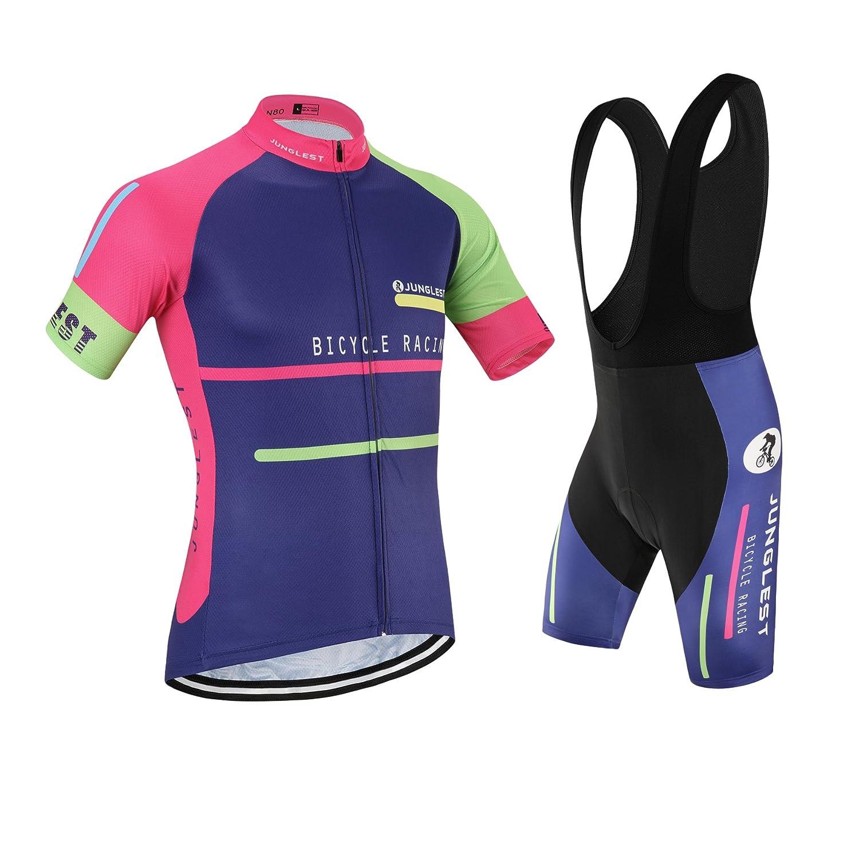 Cycling Jersey Set Wen半袖(S ~ 5 X L、オプション:よだれかけ、3dパッド) n80 B01BSZDFES  種類: セット(ブラック前掛け) (General pad)(Chest 50-53inchs)