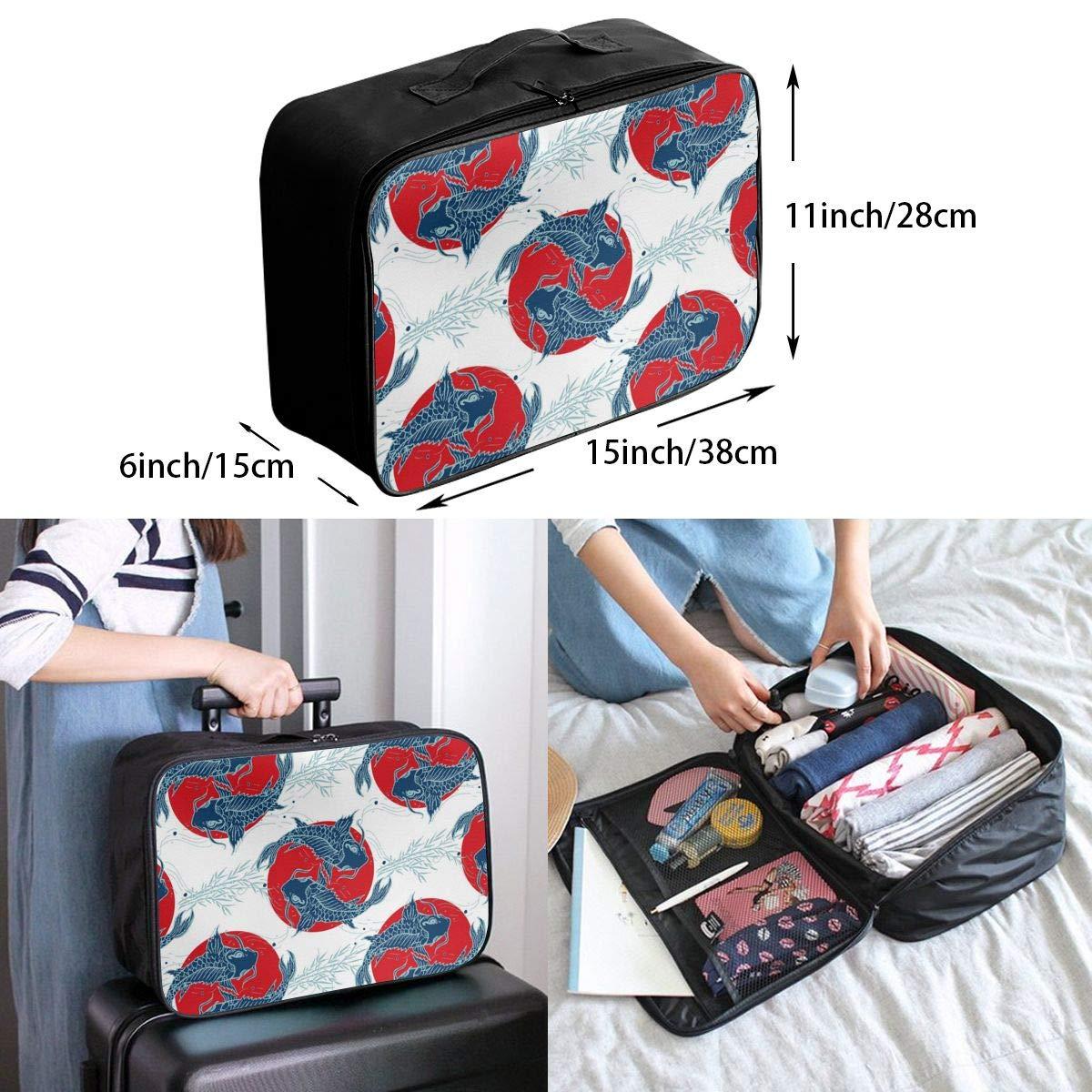 Carp Travel Luggage Storage Bag Duffel Bag Handle Makeup Bag Fashion Lightweight Large Capacity Portable Luggage Bag
