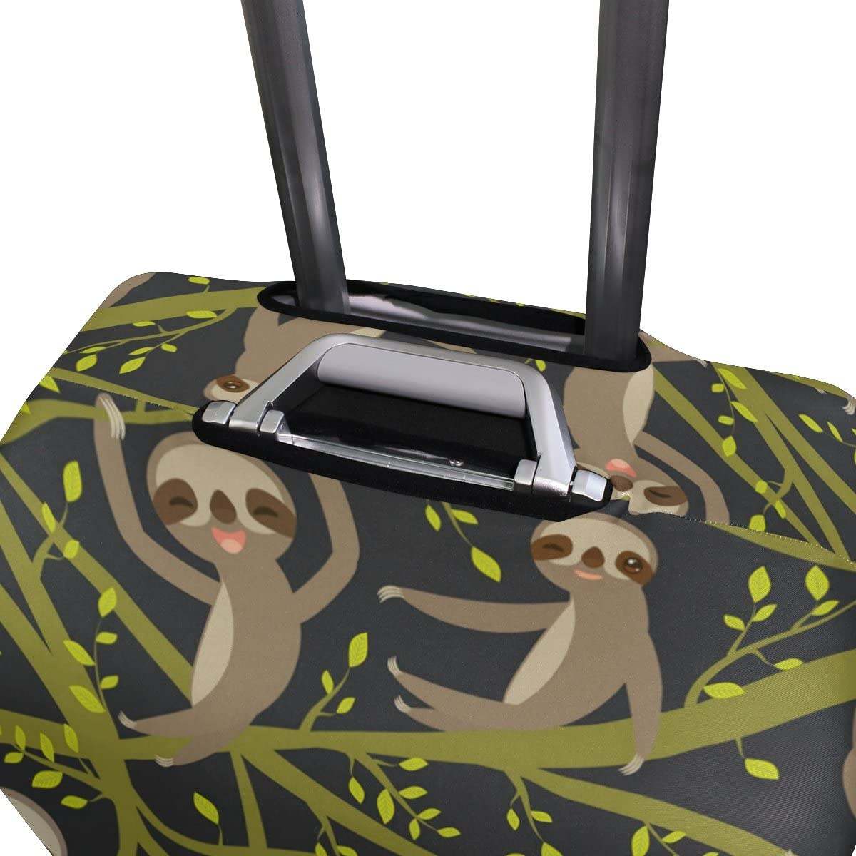 OREZI Luggage Protector Cute Smiling Sloth Travel Luggage Elastic Cover Suitcase Washable and Durable Anti-Scratch Stretchy Case Cover Fits 18-32 Inches