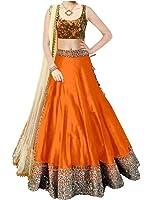 Vastra fasion Cotton Lehenga Choli (VF diamond orange choli_Orange_Free Size )