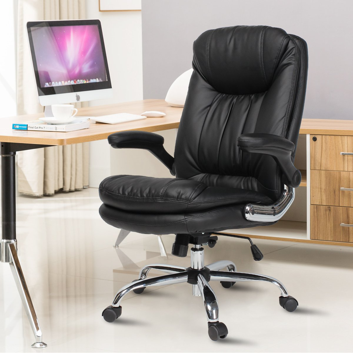 B2C2B Ergonomic Office Chair - High Back Desk Chair with Flip-Up Arms and Comfy Thick Cushion Leather Computer Chair Big and Tall 350lb Weight Capacity, Black by B2C2B