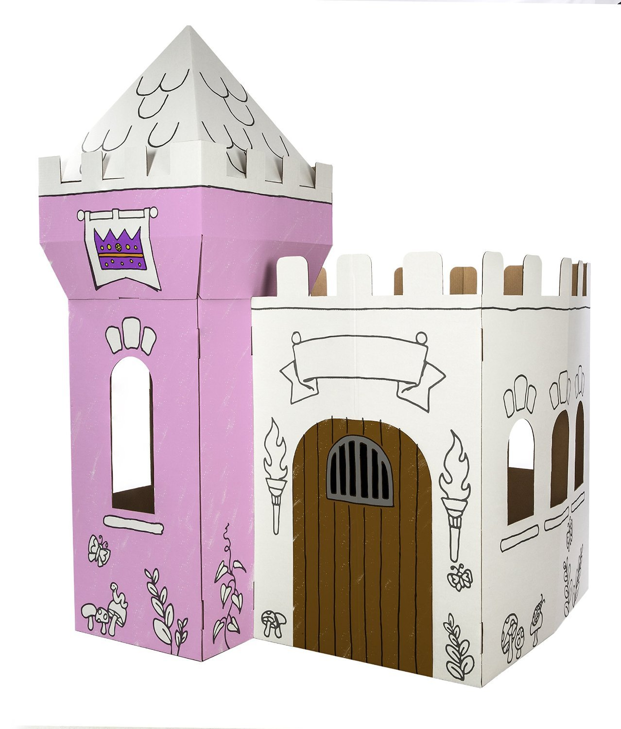 Amazon.com: Box Creations Corrugated Castle - Markers Included: Toys ...
