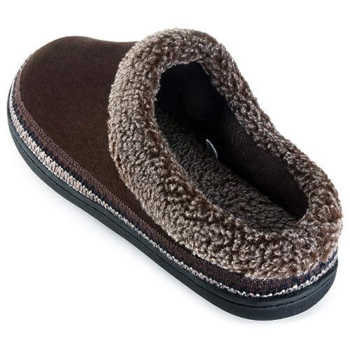 c4ec06ec4bef1a ULTRAIDEAS Men s Cozy Memory Foam Moccasin Suede Slippers with Fuzzy Plush  Wool-Like Lining