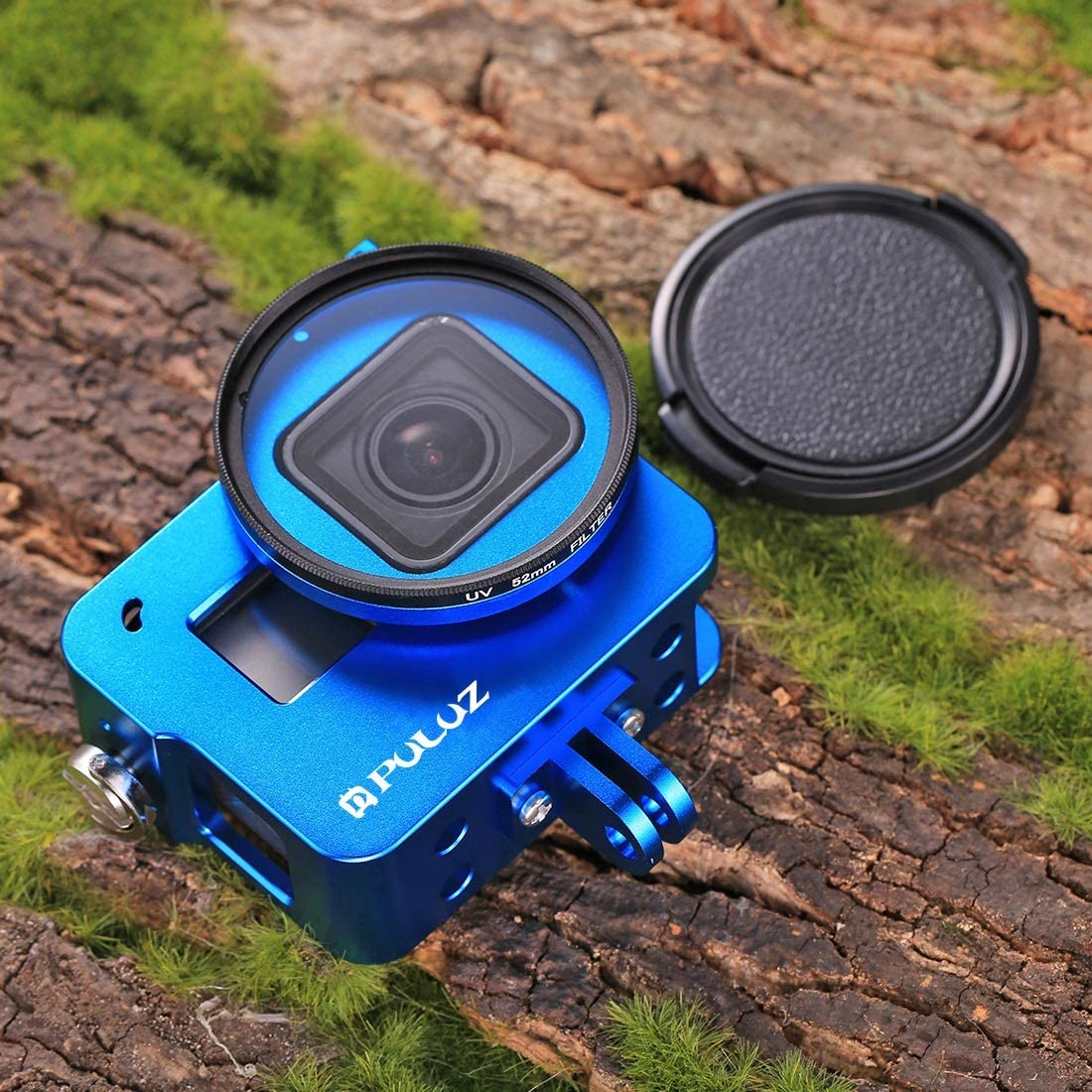 //7 Black //6//5 2018 VKeyueDa Housing Shell CNC Aluminum Alloy Protective Cage with 52mm UV Lens for GoPro Hero VKeyueDa Color : Blue Black