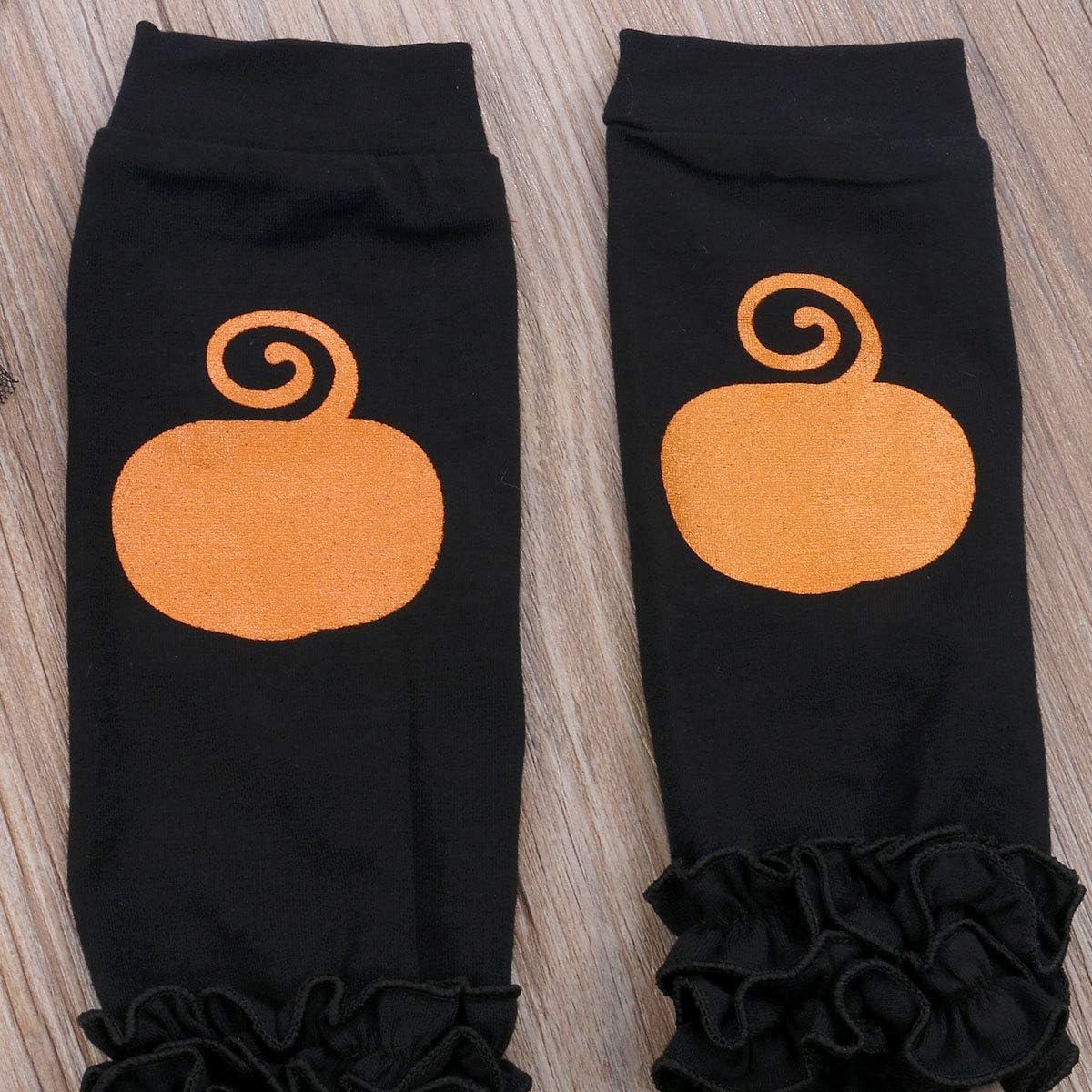 Headband Leg Warmer 4Pcs Outfits Set Newborn Baby Girl Halloween Clothes My First Halloween Pumpkin Romper Tutu Skirt