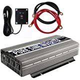 GoWISE Power 2000W Pure Sine Wave Power Inverter 12V DC to 120V AC with 3 AC Outlets + 1 5V USB Port, Remote Switch and 2 Bat