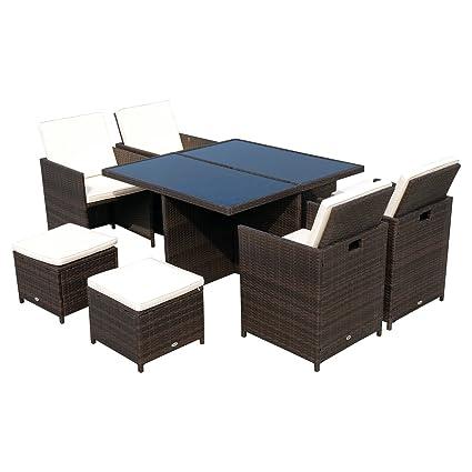 Garten Essgruppe 5-tlg Möbel Poly Rattan Braun Sitzgruppe Tisch+Stuhl+Sitzkissen
