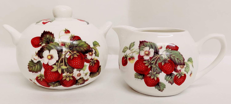 Fresas y Crema/jarra de leche y azucarero de porcelana fina Juego ...