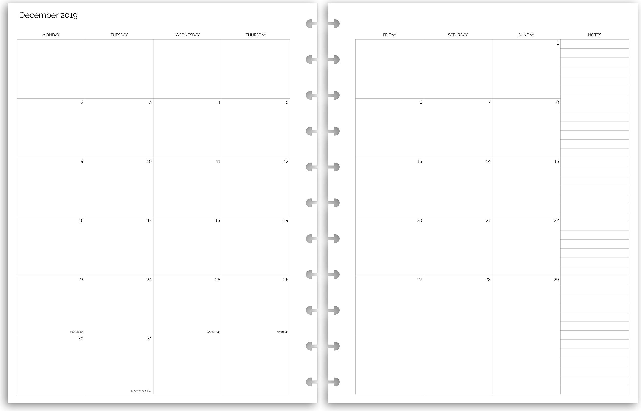 image regarding Discbound Planner Printables referred to as 11 Discs 2019 Letter Month-to-month Planner Sheets, Quality Heavyweight Discbound Laptop computer Paper Refills Punched for Circa, Arc, TUL (38 Sheets)