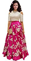 Generative Shoppe Kids Party Wear Pink Banglory Silk Semi-Stitched Dress for Girl (Gown_Free Size_8-12 year Girl)