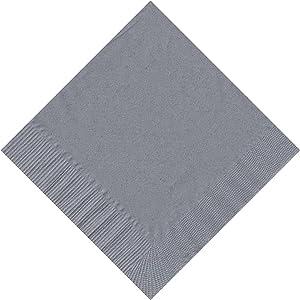 50 Plain Solid Colors Beverage Cocktail Napkins Paper - Silver