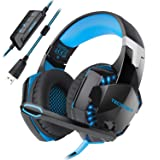 USB Gaming Headset, TeckNet 7.1 Channel Surround Sound PC Computer Over Ear Headphones With Noise Cancelling, Microphone, Volume Control and LED Light