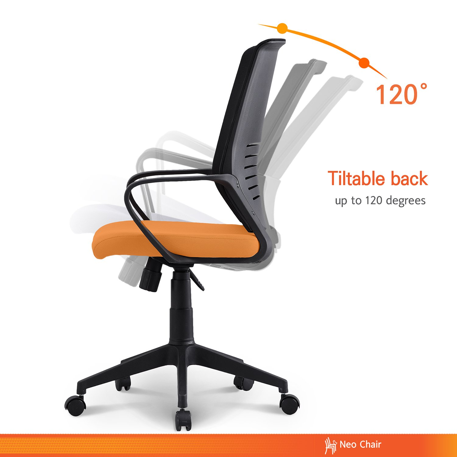 Neo Chair Managerial Office Chair Conference Room Chair Desk Task Computer Mesh Home Chair w Armrest Ergonomic Lumbar Support Swivel Adjustable Tilt Mid Back Wheel, MORCOTE Orange Black