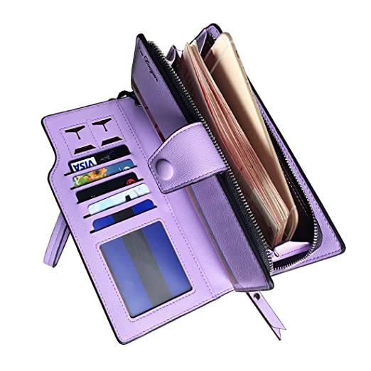 4f4141e64768 Rfid women's wallets ladies Leather Wristlet organizer with phone slot  large capacity