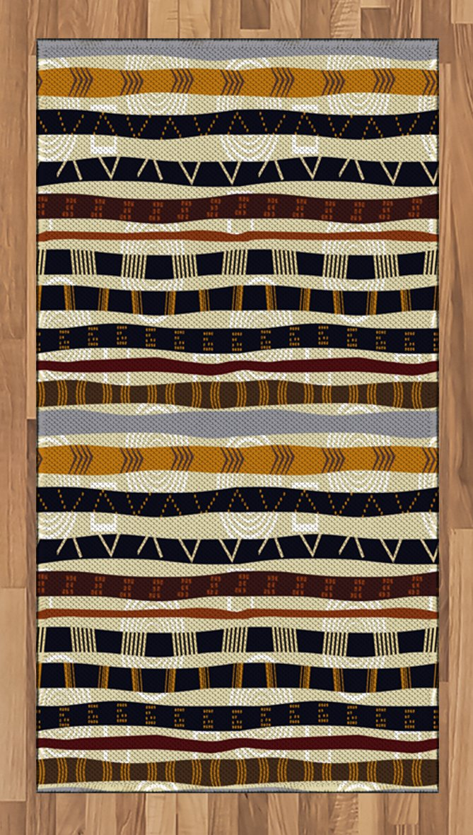 Ambesonne Tribal Area Rug, Ethnic African with Trippy Geometric Forms Timeless Heritage Wild Earthen Pattern, Flat Woven Accent Rug for Living Room Bedroom Dining Room, 4 x 6 FT, Multicolor