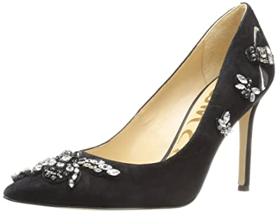60dbb4d89 Sam Edelman Women's Hazel 3 Dress Pump, Black Jeweled Suede, ...
