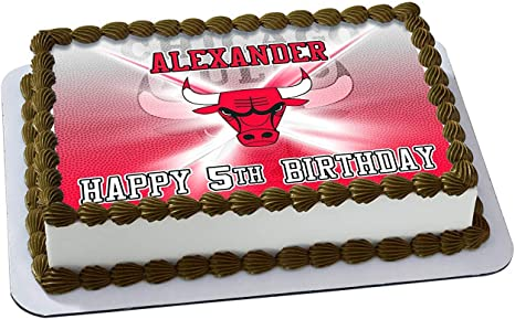 Prime Amazon Com Chicago Bulls Nba Edible Cake Image Topper Personalised Birthday Cards Petedlily Jamesorg
