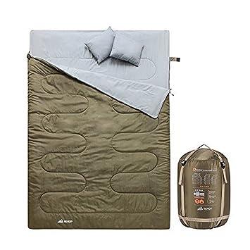 Semoo Saco de Dormir Extra Grande, para 2 Personas, Impermeable, Almohada Integrada,