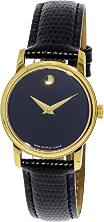 00fd9f215 Image Unavailable. Image not available for. Color: Movado 2100006 Womens  Museum Gold Tone Stainless Steel Case Leather Strap Black Tone Dial Quartz