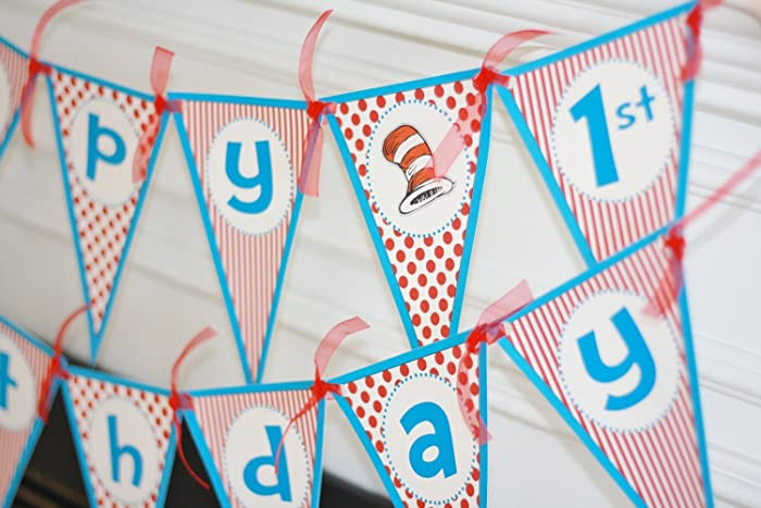 Amazon Happy Birthday Pennant Flag Dr Seuss Cat In The Hat Red Turquoise Theme Banner
