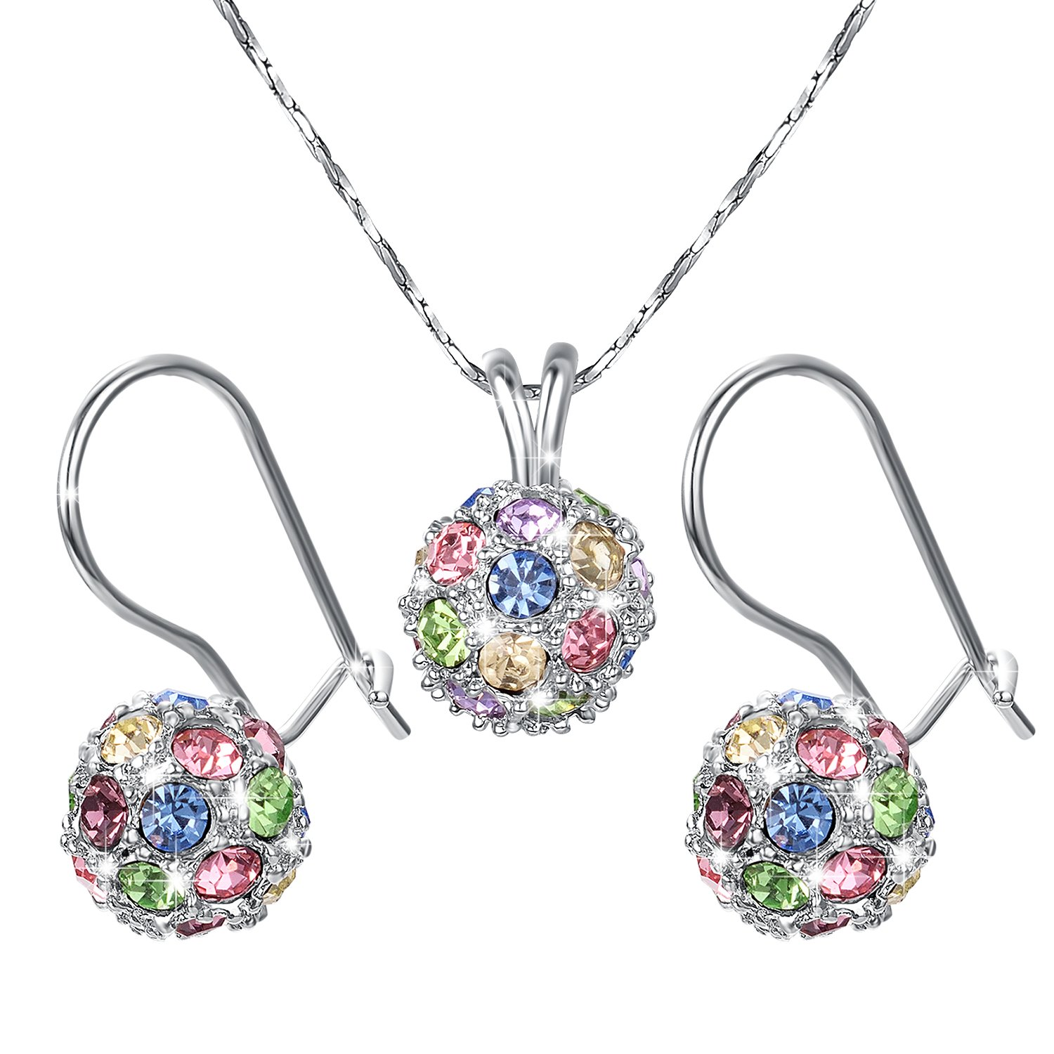 Yoursfs Crystal Ball Jewelry Set Dainty Rhinestone Earrings& Necklace Fashion Prom Jewelry Italina S007W2-CA
