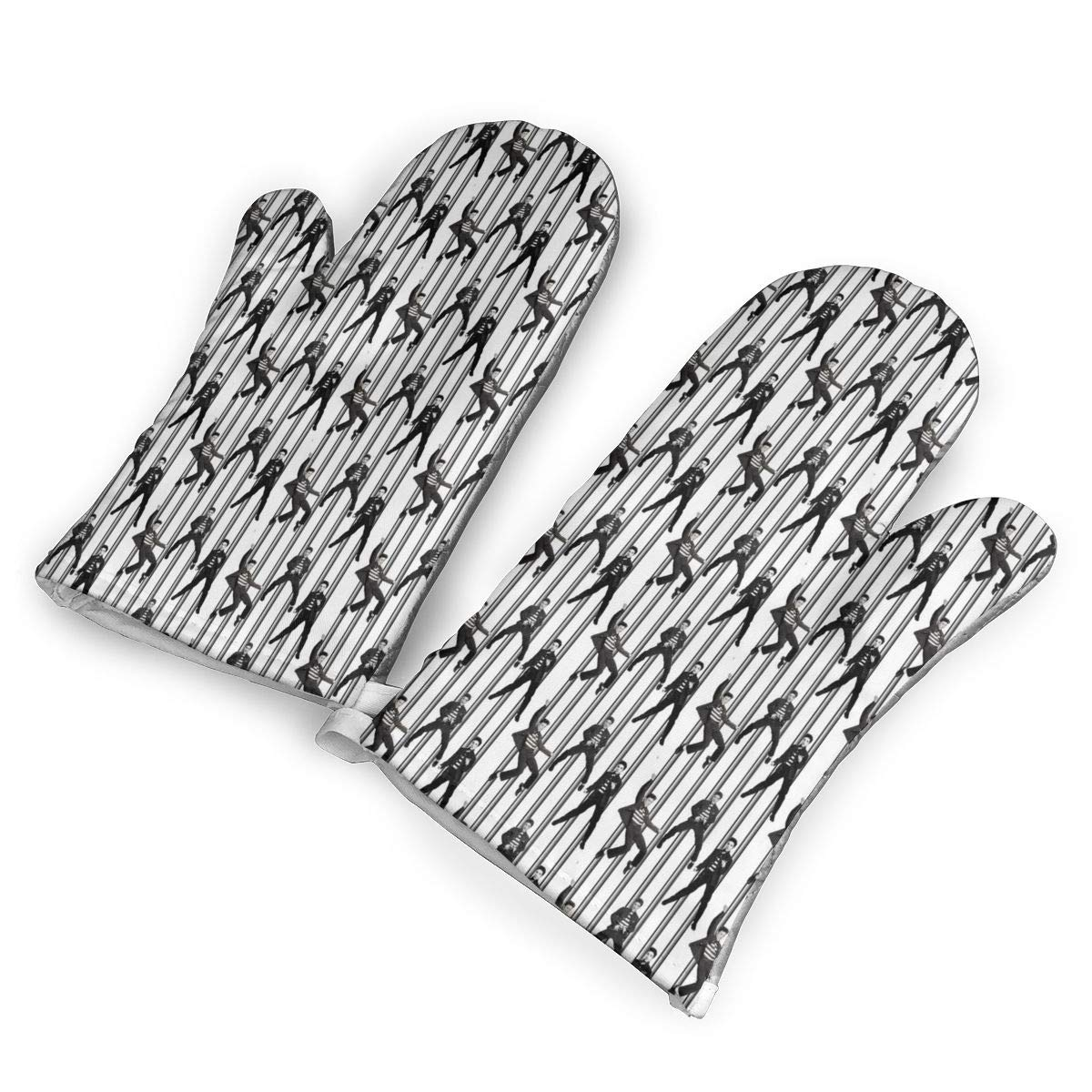 Victoria-Ai Elvis Prison Rock Oven Mitts Premium Heat Resistant Kitchen Gloves Non-Slip Easy to Use Baking Mittens for BBQ/Cooking/Grilling