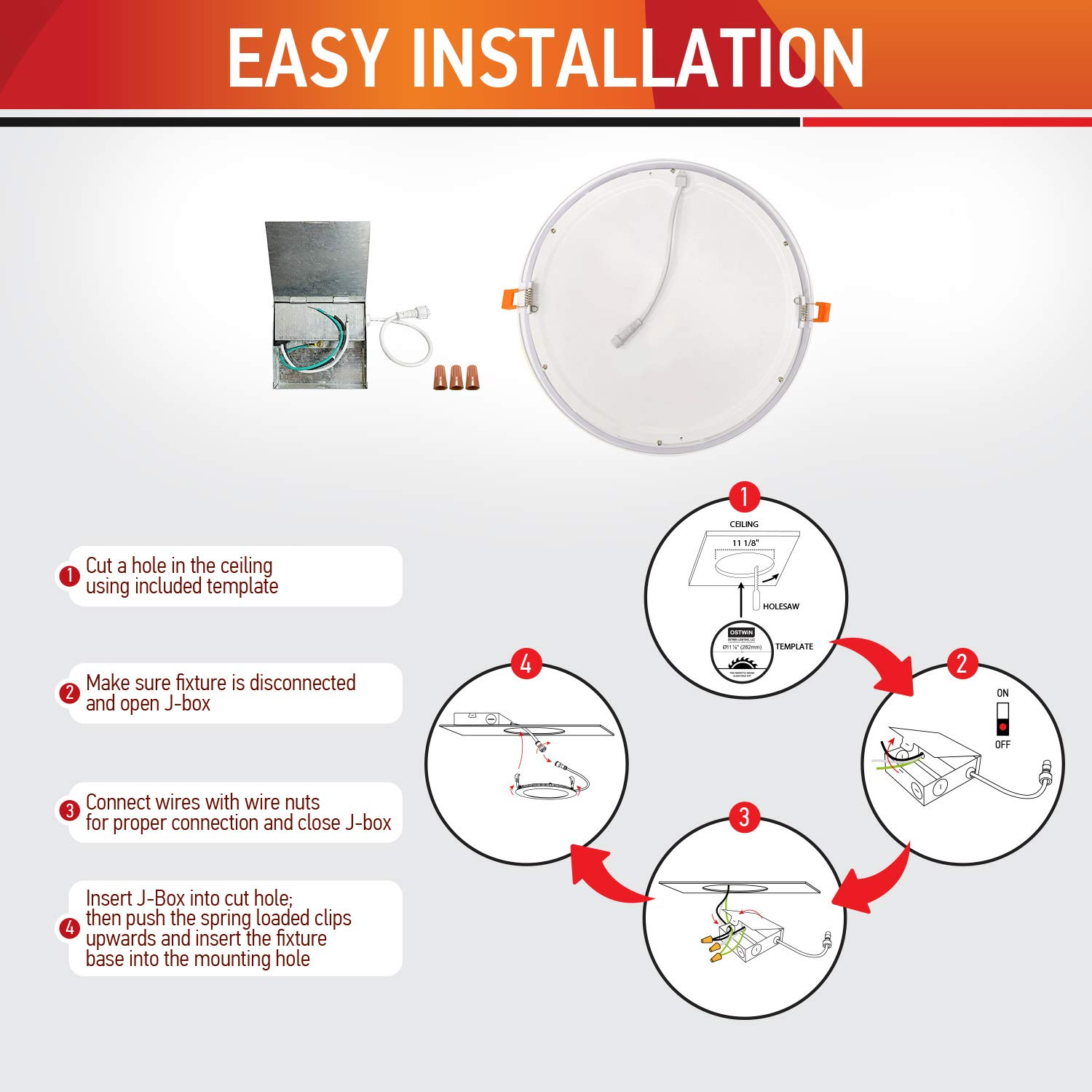 OSTWIN 12 inch 24W (120 Watt Repl.) IC Rated LED Recessed Low Profile Slim Round Panel Light with Junction Box, Dimmable, 3000K Warm Light 1800 Lm. No Can Needed, 12 Pack ETL & Energy Star Listed by OSTWIN (Image #5)