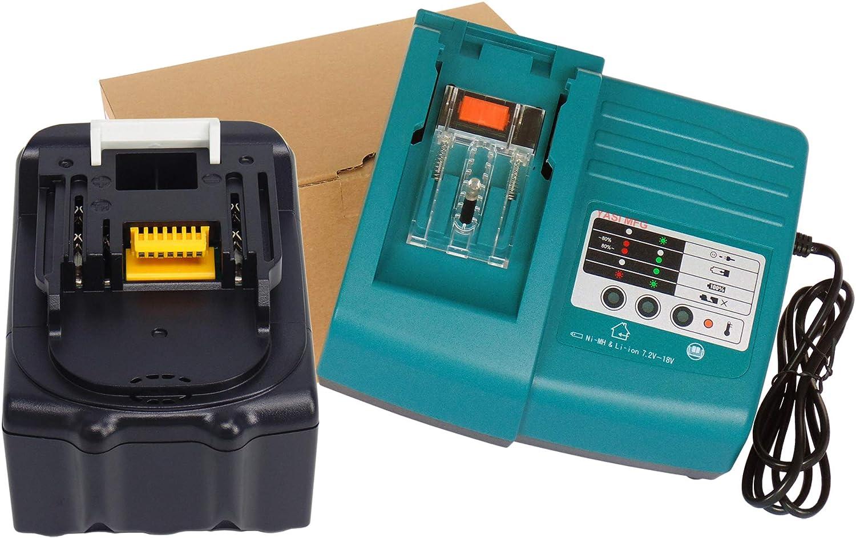 YASI MFG® para Makita Cargador & Batería para Makita BL1830 BL1840 BL1850. bl1850b DC18RA DC18RC DC18RD [Cargador 7.2 V de 18 V Ion de litio con BL1830 18 V 3,0 Ah Li-Ion]